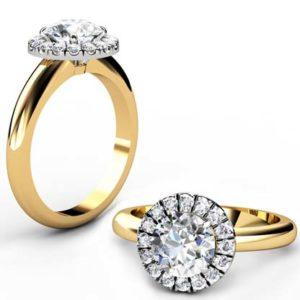 Round Brilliant Cut DIamond Yellow Gold Halo Engagement Ring 1 2