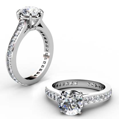 Round Brilliant Cut Diamond Engagement Ring with Almost Eternity Band 1 2