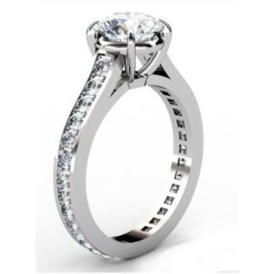 Round Brilliant Cut Diamond Engagement Ring with Almost Eternity Band 2 2
