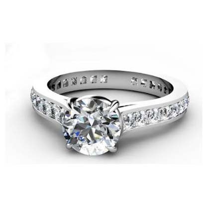 Round Brilliant Cut Diamond Engagement Ring with Almost Eternity Band 3 2