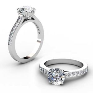 Round Brilliant Cut Diamond Engagement Ring with Channel Set Diamond Band 1 2