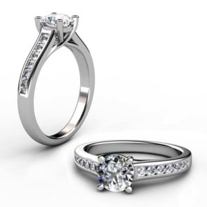Round Brilliant Cut Diamond Engagement Ring with Crossed Claws 1 2