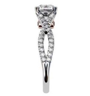 Round Brilliant Cut Diamond Engagement Ring with Crossover Diamond Band 5 2