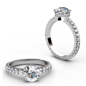 Round Brilliant Cut Diamond Engagement Ring with Diamond Basket 1 3