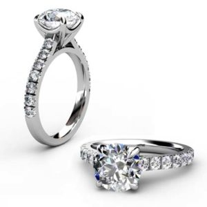 Round Brilliant Cut Diamond Engagement Ring with Diamond Half Band 1 2