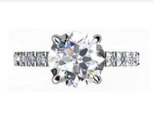 Round Brilliant Cut Diamond Engagement Ring with Diamond Half Band 2 2