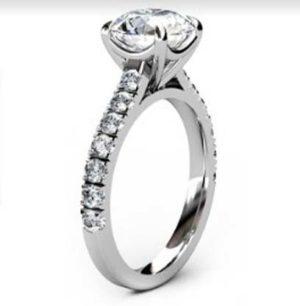Round Brilliant Cut Diamond Engagement Ring with Diamond Half Band 4 2