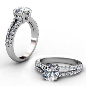 Round Brilliant Cut Diamond Engagement Ring with Diamond Split Shank 1 2