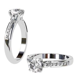 Round Brilliant Cut Diamond Engagement Ring with Hanging Basket 1 2