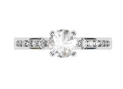 Round Brilliant Cut Diamond Engagement Ring with Hanging Basket 2 2