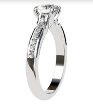 Round Brilliant Cut Diamond Engagement Ring with Hanging Basket 4 2