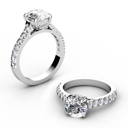 Round Brilliant Cut Diamond Engagement Ring with Side Stones 1 2
