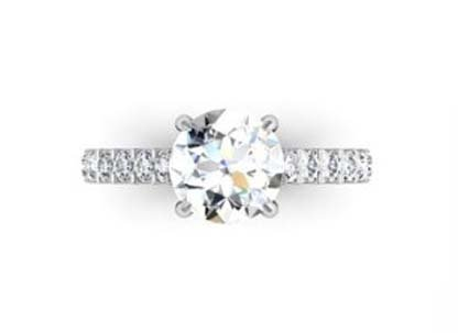 Round Brilliant Cut Diamond Engagement Ring with Side Stones 2 2