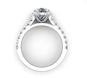 Round Brilliant Cut Diamond Engagement Ring with Side Stones 3 2