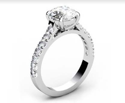 Round Brilliant Cut Diamond Engagement Ring with Side Stones 4 2