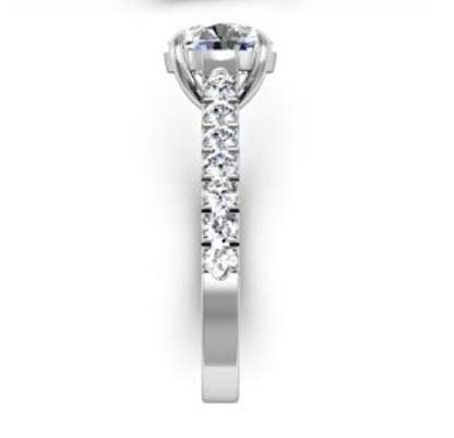 Round Brilliant Cut Diamond Engagement Ring with Side Stones 5 2