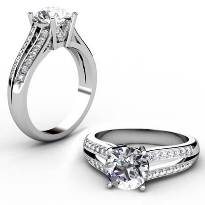 Round Brilliant Cut Diamond Engagement Ring with Split Shank 1 2