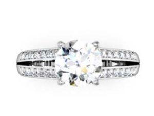 Round Brilliant Cut Diamond Engagement Ring with Split Shank 2 2