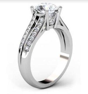 Round Brilliant Cut Diamond Engagement Ring with Split Shank 4 2