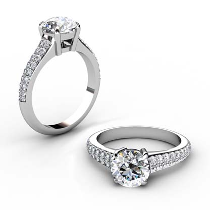 Round Brilliant Cut Diamond Engagement Ring with Tapering Diamond Band 1 2