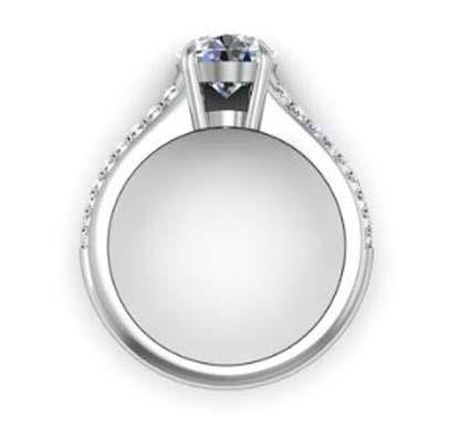 Round Brilliant Cut Diamond Engagement Ring with Tapering Diamond Band 3 2