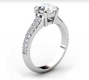Round Brilliant Cut Diamond Engagement Ring with Tapering Diamond Band 4 2
