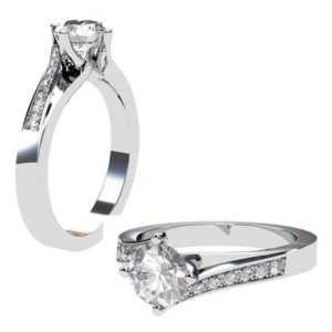 Round Brilliant Cut Diamond Engagement Ring with Twisted Band 1 2 2