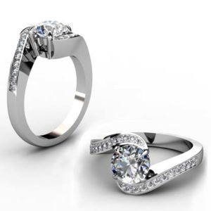 Round Brilliant Cut Diamond Engagement Ring with Twisted Band 1 5