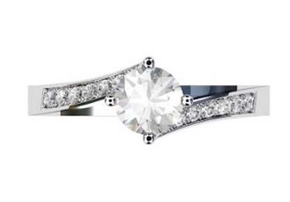 Round Brilliant Cut Diamond Engagement Ring with Twisted Band 2 2 2