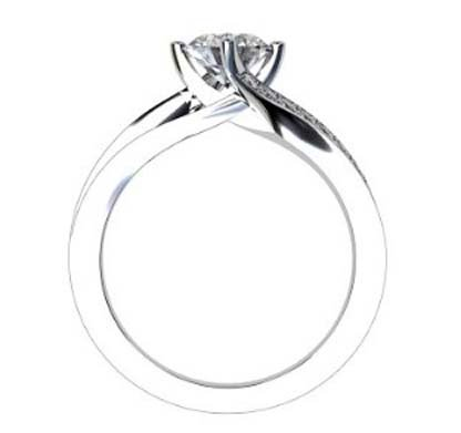 Round Brilliant Cut Diamond Engagement Ring with Twisted Band 3 2 2