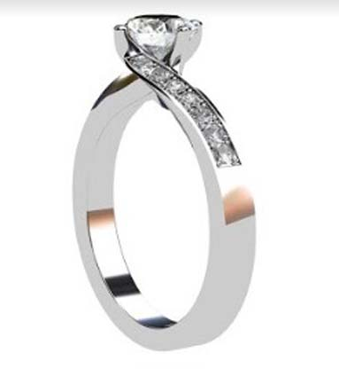 Round Brilliant Cut Diamond Engagement Ring with Twisted Band 4 2 2