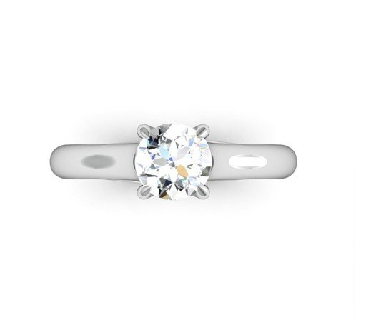 Round Brilliant Cut Diamond Engagement Ring with Weaved Claws 2 2