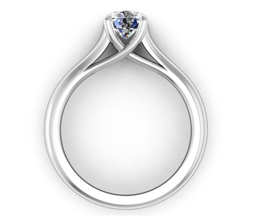 Round Brilliant Cut Diamond Engagement Ring with Weaved Claws 3 2