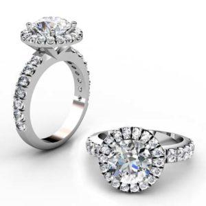 Round Brilliant Cut Diamond Halo Engagement Ring 1 3 2