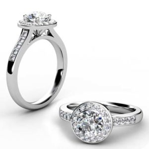 Round Brilliant Cut Diamond Halo Engagement Ring 1 5