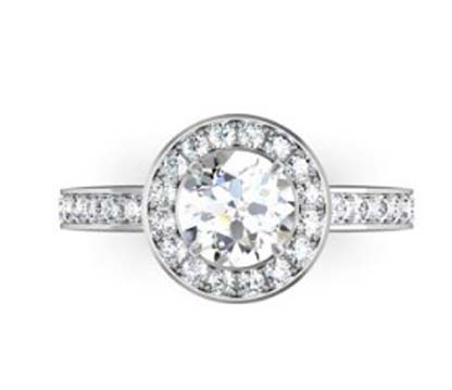 Round Brilliant Cut Diamond Halo Engagement Ring 2 1 2
