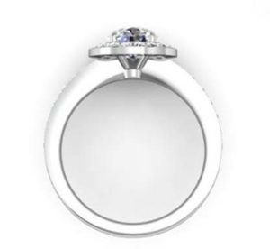 Round Brilliant Cut Diamond Halo Engagement Ring 3 1 2