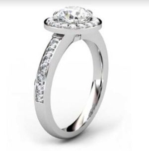 Round Brilliant Cut Diamond Halo Engagement Ring 4 1 2