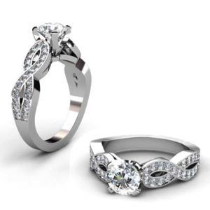 Round Brilliant Cut Diamond Infinity Engagement Ring with Twisted Band 1 2