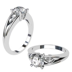 Round Brilliant Cut Diamond Leaf Motif Engagement Ring 1 2