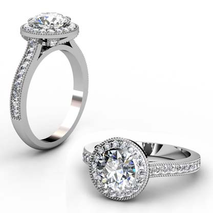 Round Brilliant Cut Diamond Milgrain Beaded Engagement Ring 1 2