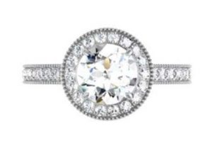 Round Brilliant Cut Diamond Milgrain Beaded Engagement Ring 2 2