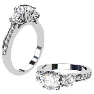 Round Brilliant Cut Diamond Three Stone Engagement Ring 1 2 2