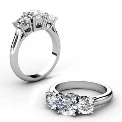 Round Brilliant Cut Diamond Three Stone Engagement Ring 1 3 2