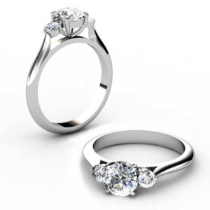 Round Brilliant Cut Diamond Three Stone Engagement Ring 1 4 2