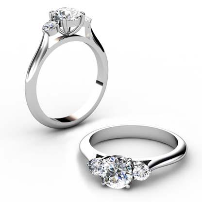 Round Brilliant Cut Diamond Three Stone Engagement Ring 1 4 2
