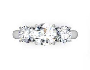 Round Brilliant Cut Diamond Three Stone Engagement Ring 2 1 2