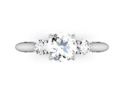 Round Brilliant Cut Diamond Three Stone Engagement Ring 2 2 2