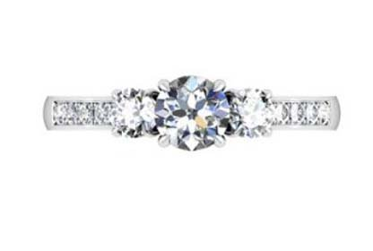 Round Brilliant Cut Diamond Three Stone Engagement Ring 2 4 2