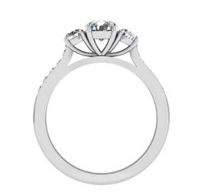 Round Brilliant Cut Diamond Three Stone Engagement Ring 3 4 2